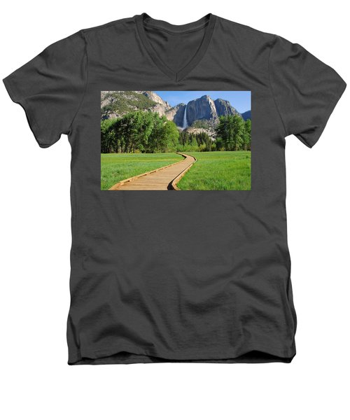 Boardwalk To Yosemite Falls  Men's V-Neck T-Shirt