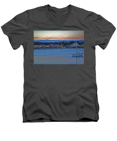 Boat At Dusk Santa Cruz Boardwalk Men's V-Neck T-Shirt