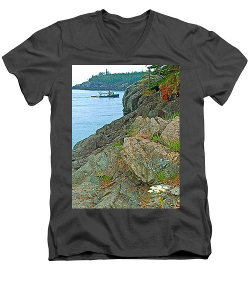 Boat By East Quoddy Bay On Campobello Island-nb Men's V-Neck T-Shirt by Ruth Hager