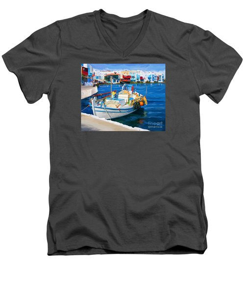 Men's V-Neck T-Shirt featuring the painting Boat In Greece by Tim Gilliland