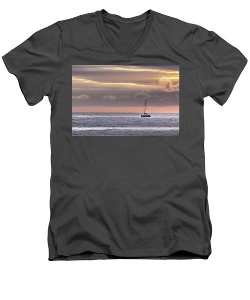 Boat Mooring Off Nairn Beach Men's V-Neck T-Shirt