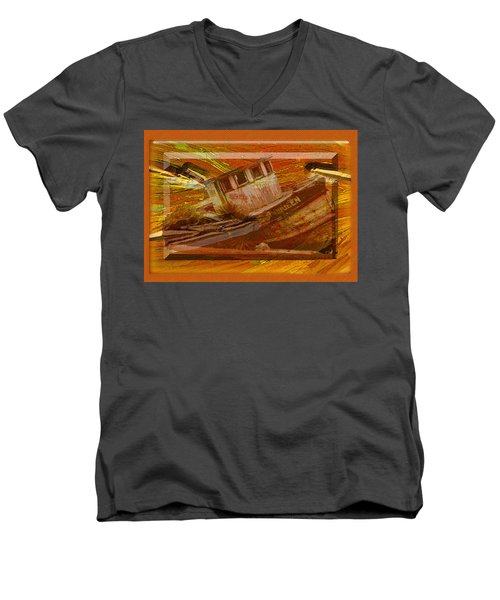 Men's V-Neck T-Shirt featuring the photograph Boat On Board by Larry Bishop