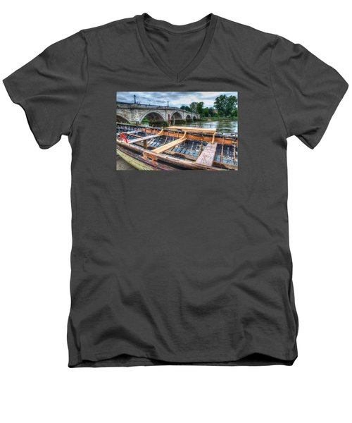 Boat Repair On The Thames Men's V-Neck T-Shirt by Tim Stanley