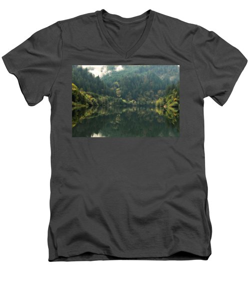 Men's V-Neck T-Shirt featuring the photograph Boathouse by Katie Wing Vigil