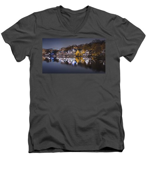 Boathouse Row Men's V-Neck T-Shirt by Eduard Moldoveanu