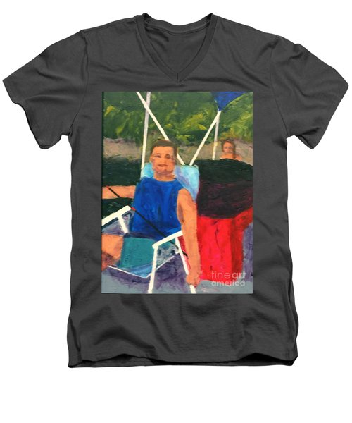 Men's V-Neck T-Shirt featuring the painting Boating by Donald J Ryker III