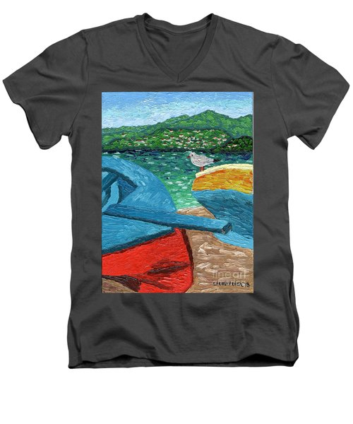 Men's V-Neck T-Shirt featuring the painting Boats And Bird At Rest by Laura Forde
