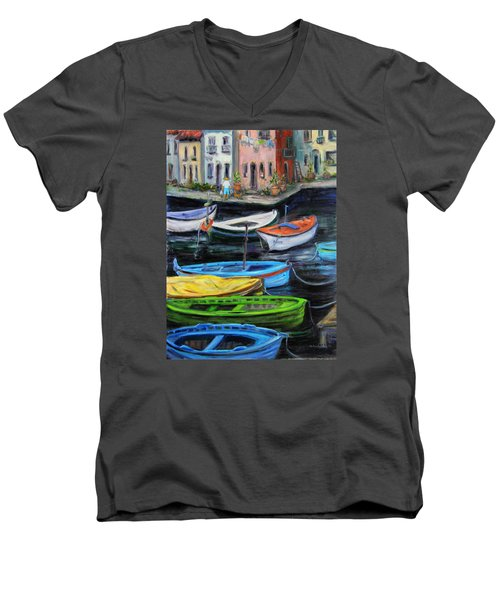 Men's V-Neck T-Shirt featuring the painting Boats In Front Of The Buildings II by Xueling Zou