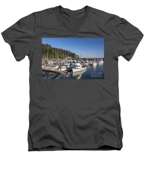 Boats Moored At Charleston Marina Men's V-Neck T-Shirt