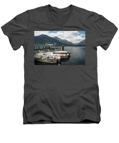 Boats On Lake Mcdonald Men's V-Neck T-Shirt
