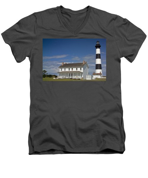 Men's V-Neck T-Shirt featuring the photograph Bodie Lighthouse Obx by Greg Reed
