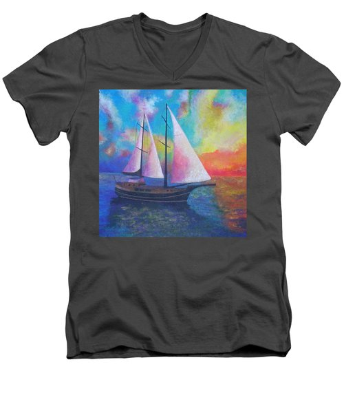 Men's V-Neck T-Shirt featuring the painting Bodrum Gulet Cruise by Tracey Harrington-Simpson