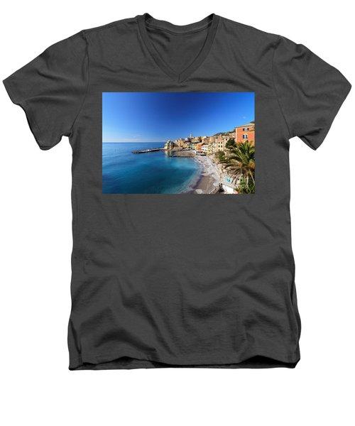 Bogliasco Village. Italy Men's V-Neck T-Shirt by Antonio Scarpi