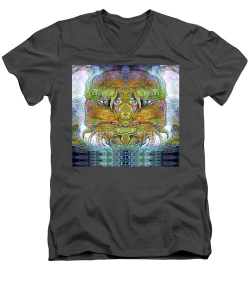 Men's V-Neck T-Shirt featuring the digital art Bogomil Variation 11 by Otto Rapp