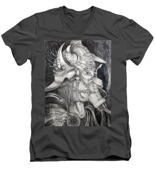 Men's V-Neck T-Shirt featuring the drawing Bogomils Duckhunting Mask by Otto Rapp