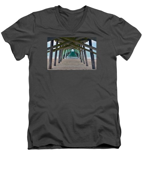 Bogue Banks Fishing Pier Men's V-Neck T-Shirt by Sandi OReilly
