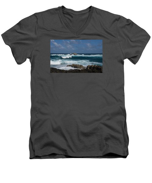 Boiling The Ocean At Laie Point - North Shore - Oahu - Hawaii Men's V-Neck T-Shirt by Georgia Mizuleva