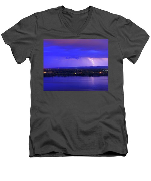 Bolt Over Gatineau Hills  Men's V-Neck T-Shirt