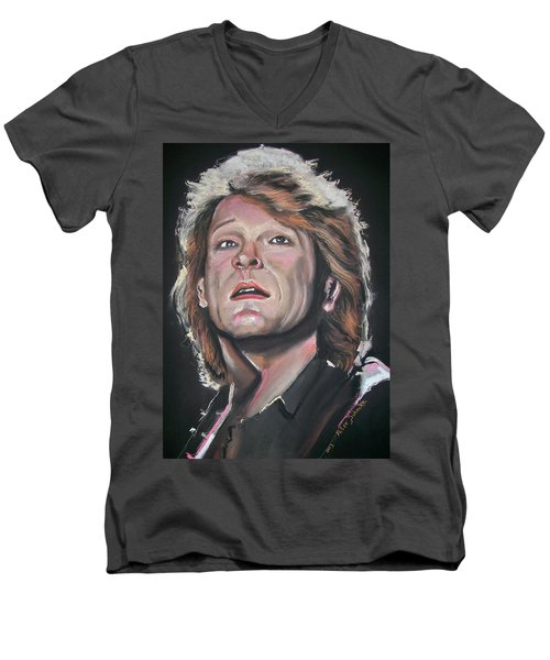 Men's V-Neck T-Shirt featuring the pastel Bon Jovi by Peter Suhocke