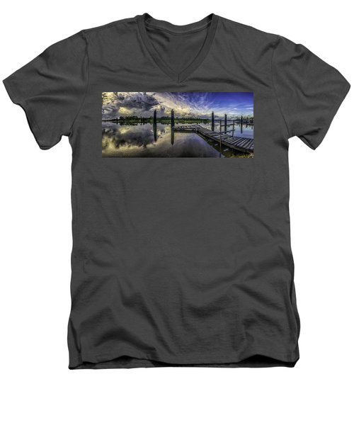 Men's V-Neck T-Shirt featuring the digital art Bon Secour Panorama by Michael Thomas