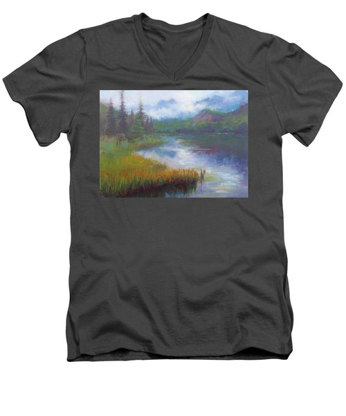 Bonnie Lake - Alaska Misty Landscape Men's V-Neck T-Shirt