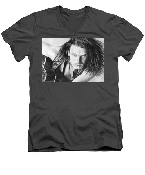 Men's V-Neck T-Shirt featuring the drawing Bono by Janice Dunbar