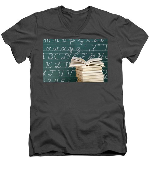 Books And Chalkboard Men's V-Neck T-Shirt by Chevy Fleet
