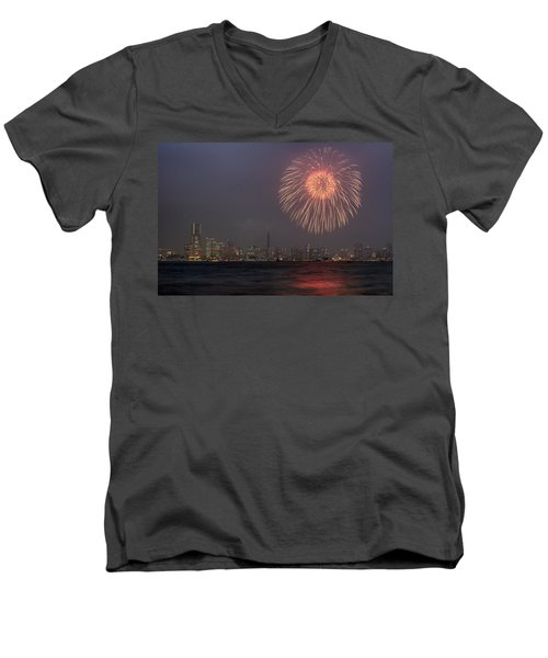 Boom In The Sky Men's V-Neck T-Shirt by John Swartz
