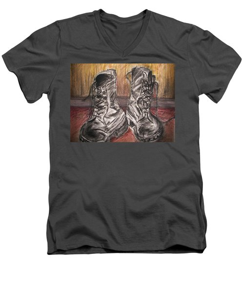 Boots In The Hall Way Men's V-Neck T-Shirt by Teresa White