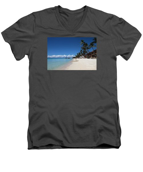 Men's V-Neck T-Shirt featuring the photograph Boracay Beach by Joey Agbayani