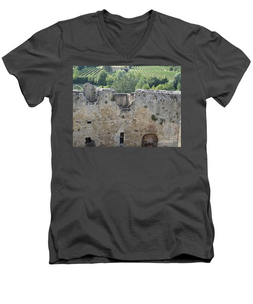 Men's V-Neck T-Shirt featuring the photograph Bordeaux Castle Ruins With Vineyard by HEVi FineArt