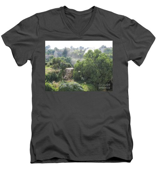 Men's V-Neck T-Shirt featuring the photograph Bordeaux Village Cloud Of Smoke  by HEVi FineArt