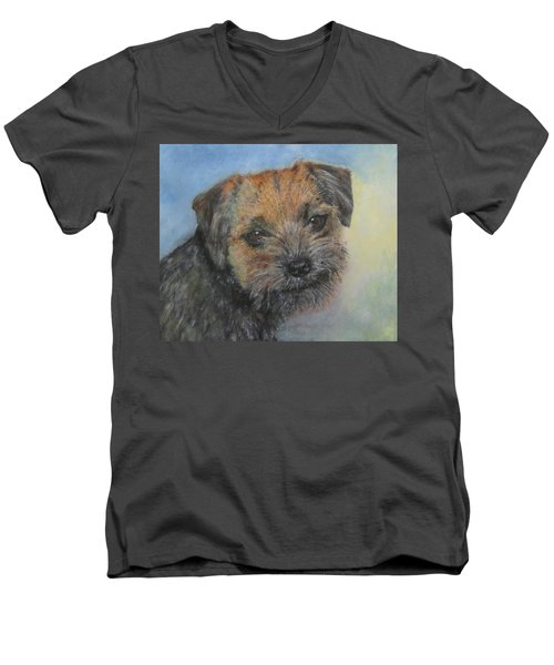 Men's V-Neck T-Shirt featuring the painting Border Terrier Jack by Richard James Digance