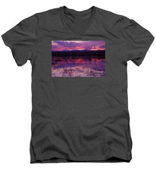 Bosque Sunset - Purple Men's V-Neck T-Shirt by Steven Ralser