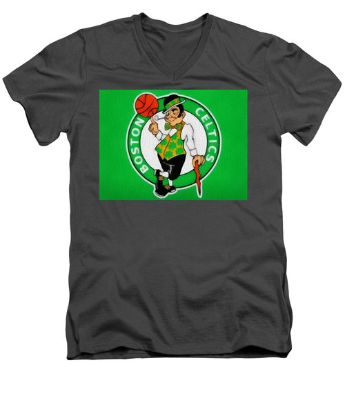 Boston Celtics Canvas Men's V-Neck T-Shirt by Dan Sproul