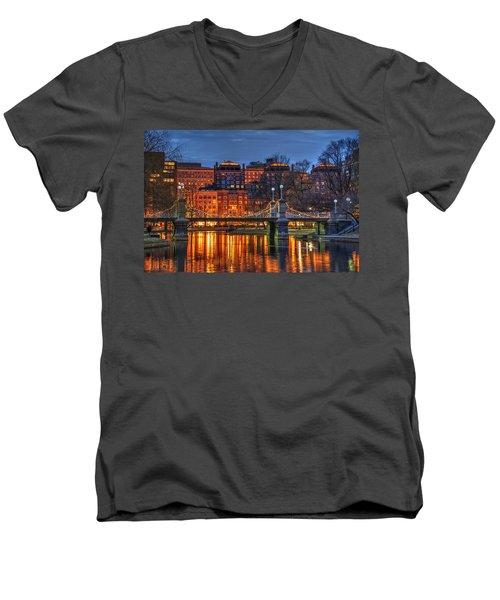 Boston Public Garden Lagoon Men's V-Neck T-Shirt by Joann Vitali