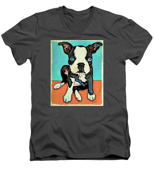 Boston Terrier - Blue Men's V-Neck T-Shirt by Rebecca Korpita