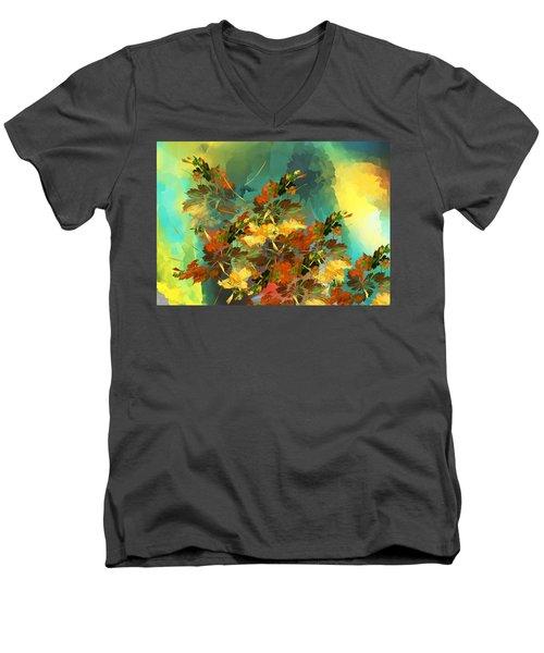Men's V-Neck T-Shirt featuring the digital art Botanical Fantasy 090914 by David Lane
