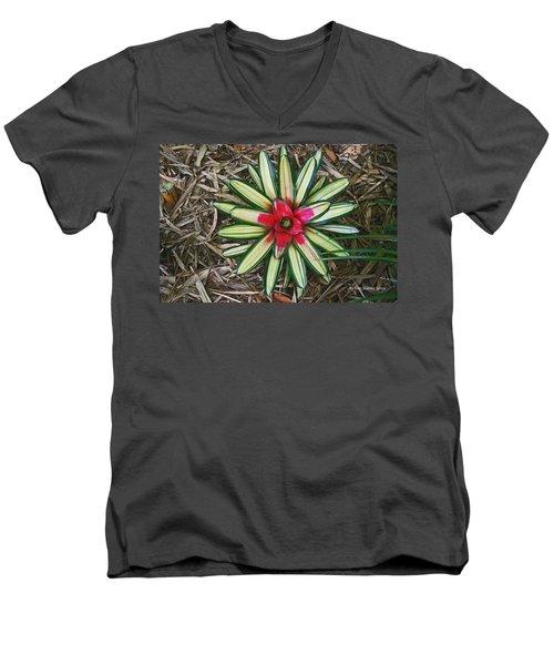 Botanical Flower Men's V-Neck T-Shirt by Tom Janca