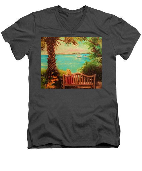 Botanical View Men's V-Neck T-Shirt by Yolanda Rodriguez