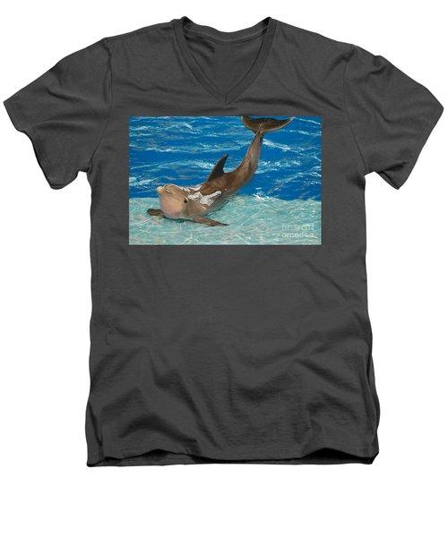 Bottlenose Dolphin Men's V-Neck T-Shirt by DejaVu Designs