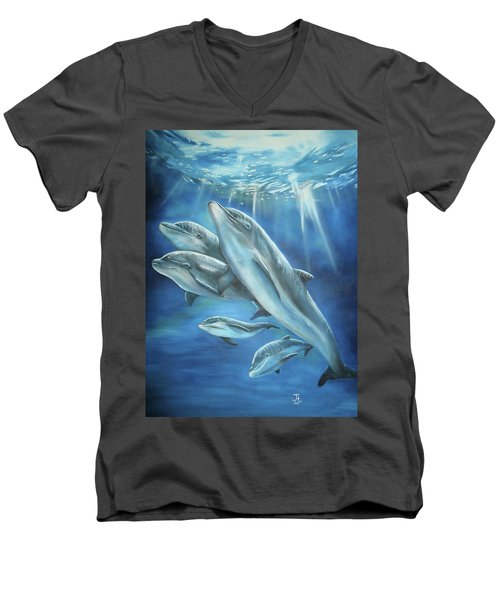 Men's V-Neck T-Shirt featuring the painting Bottlenose Dolphins by Thomas J Herring