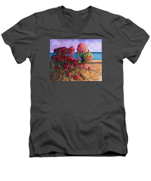 Bountiful Bougainvillea Men's V-Neck T-Shirt by Laurie Morgan