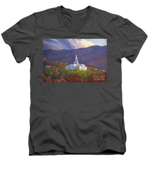 Bountiful Temple In The Mountains Men's V-Neck T-Shirt