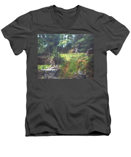 Men's V-Neck T-Shirt featuring the painting Bouts Of Fantasy by Lori Brackett