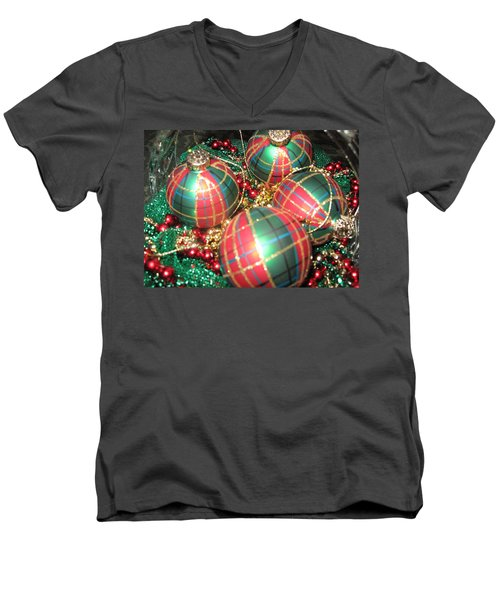 Men's V-Neck T-Shirt featuring the photograph Bowl Of Christmas Colors by Barbara McDevitt