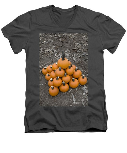 Men's V-Neck T-Shirt featuring the photograph Bowling For Pumpkins by David Millenheft