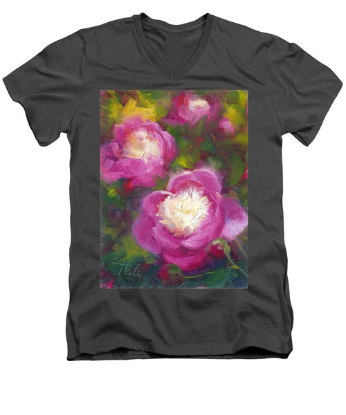 Bowls Of Beauty - Alaskan Peonies Men's V-Neck T-Shirt
