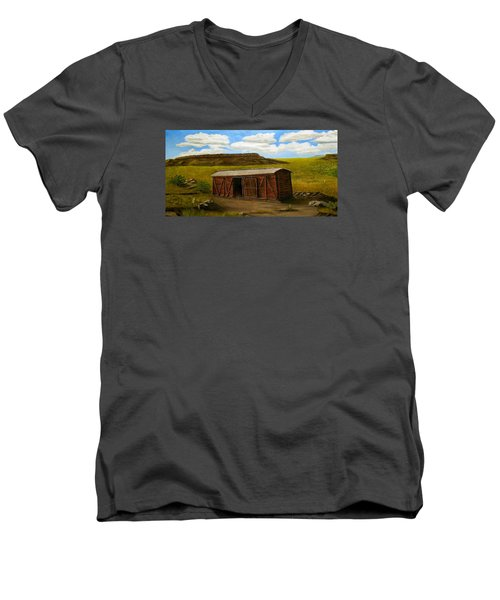 Men's V-Neck T-Shirt featuring the painting Boxcar On The Plains by Sheri Keith