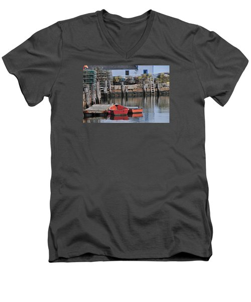 Bradley Wharf Dinghies Men's V-Neck T-Shirt by Mike Martin